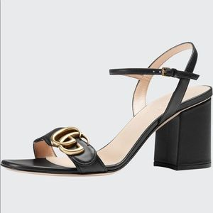 Gucci Leather GG Block Heel Sandals 75MM